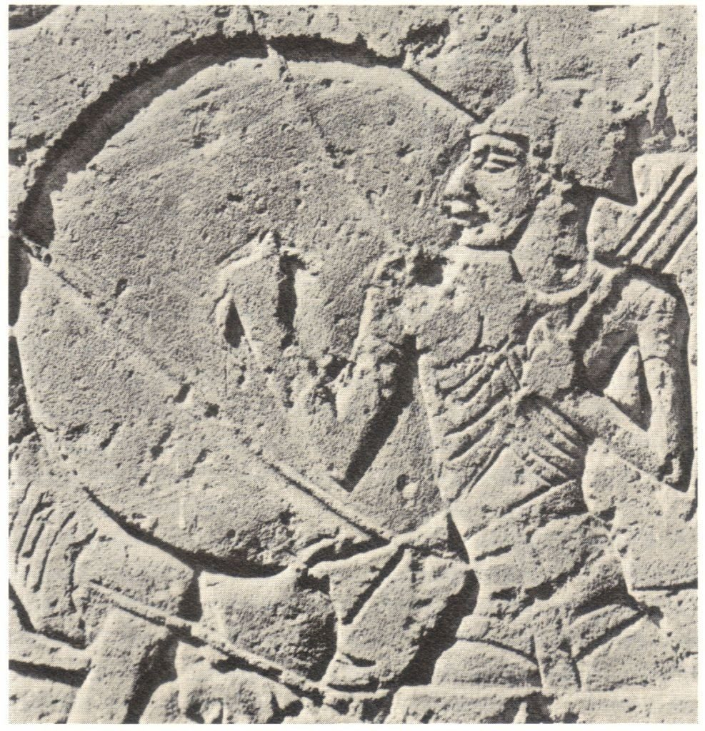 Horned Helmeted Warrior from the Sea Battle Frieze Medinet Habu, (from THE SEA PEOPLES — Warriors of the Ancient Mediterranean, N.K Sanders).