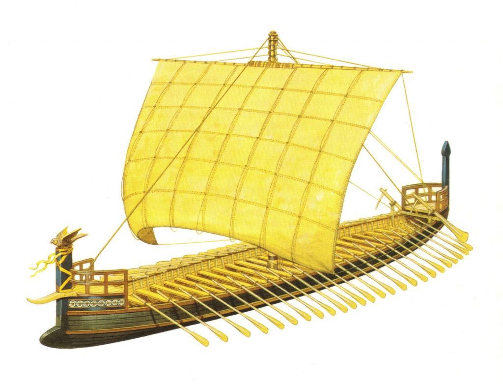 A reconstruction of the Tragana Ship By Peter Connolly.
