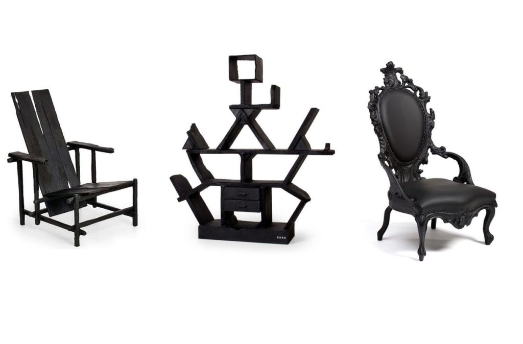 Three classics of design burnt by Maarten Baas for one of his exhibitions.
