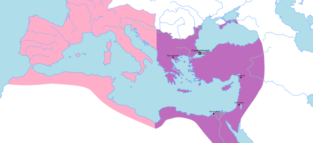 The territory of the Eastern Roman Empire, with the Eastern Roman Empire depicted in purple.