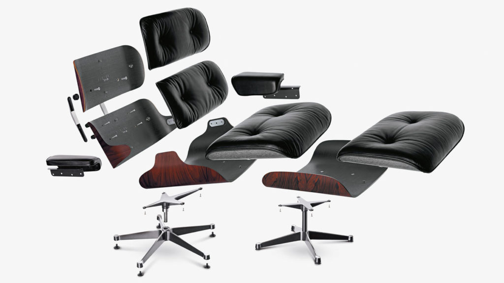 Exploded view of the Eames Lounge Chair and Ottoman that clearly shows the structure of the plywood shells and the upholstered cushions.