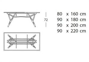 Techincal drawing with dimensions of the Reale table.