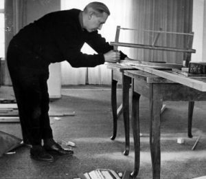 Wegner himself at work in the carpentry. Photo by Carl Hansen & Son.