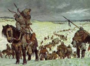 "An illustration depicting the migration of the ""Barbarian"" peoples."