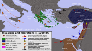 A map of the Late Bronze Age Mediterranean indicating the various invasions and migrations of the period.