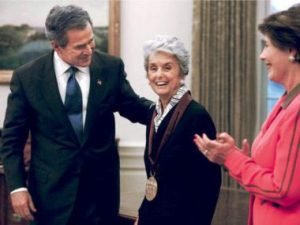 Florence Knoll is honoured with the National Medal of the Arts, 2002.