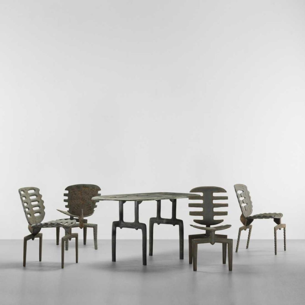 A set of Main's designs, including the Frond Chair.