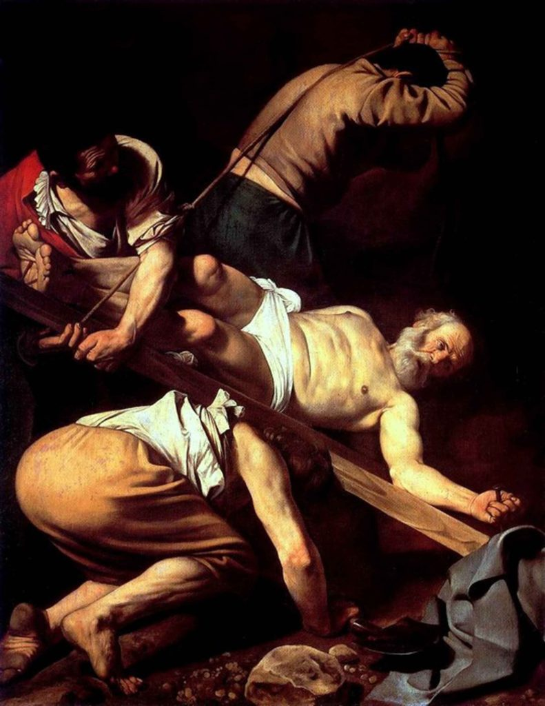 The martyr of St. Peter in a famous painting by Italian painter Caravaggio.
