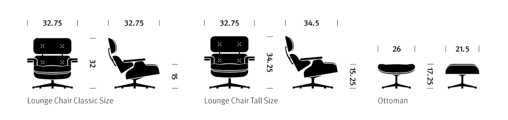 Eames Lounge Chair dimensions.