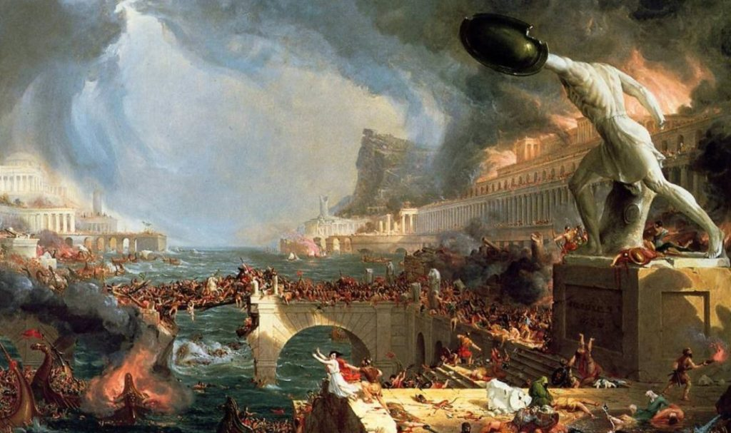 """Destruction"", a painting by the English painter Thomas Cole, depicting the fall of the Roman Empire."