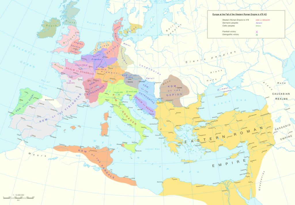 Barbarian kingdoms in Europe and North Africa in 476 AD.