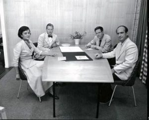 From left to right: Florence Knoll, Hans Knoll, Herbert Matter and Harry Bertoia ( ca 1950s).