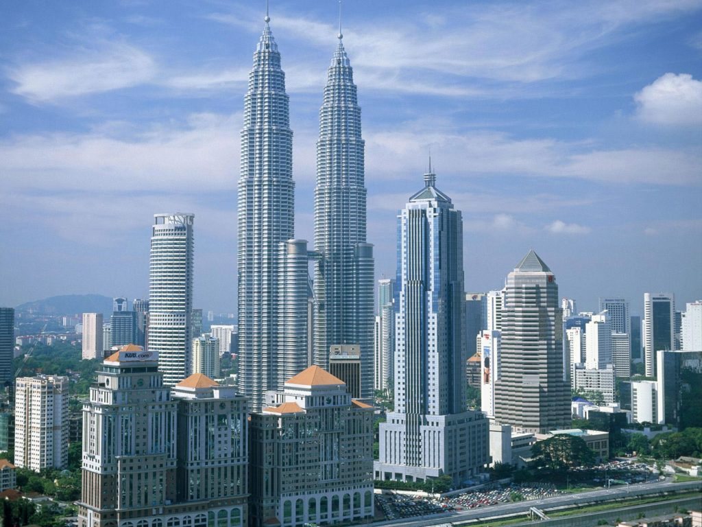 Petronas Towers, designed by César Pelli and located in Kuala Lumpur, Malaysia.