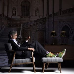 Marcel Wanders with some furnishings produced by his firm Moooi.