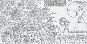 Thw famous scene from the north wall of Medinet Habu, often used to illustrate the Egyptian campaign against the Sea Peoples.