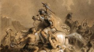 """""""Battle between Romans and Barbarians"""" by Theodore Chasseriau, ca.1850-1855."""