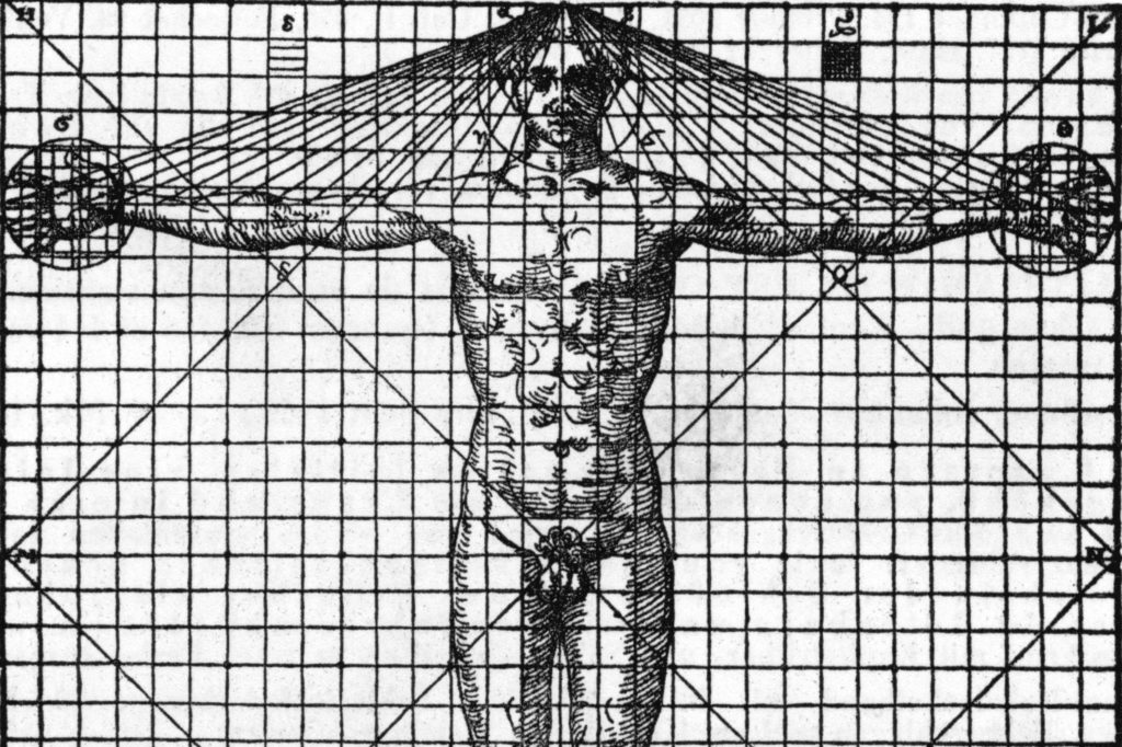 Diagram Of Man'S Proportions From Vitruvius Translation, 1558.