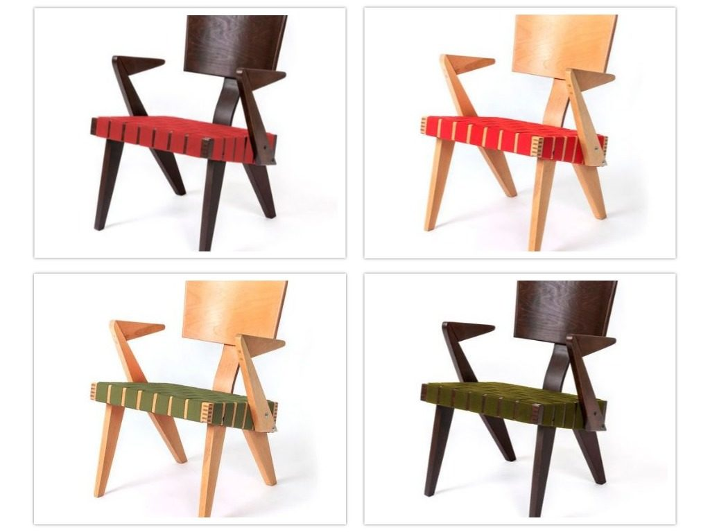 Four versions of the Lounge Chair with Arms in some of the available finishes.