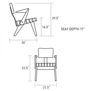 Dimensions of the Lounge chair with Arms.