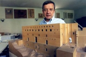 Giorgio Grassi and one of his models.