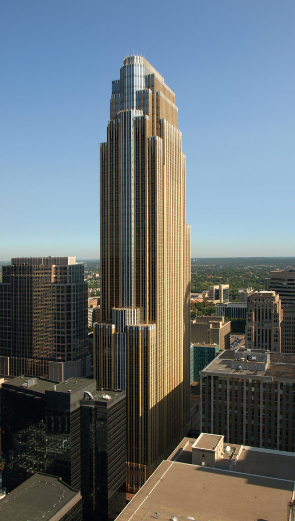 Wells Fargo Center, Minneapolis. Though constructed six decades after the height of the art deco movement, the building carries its latter-day deco detailing all over its exterior.