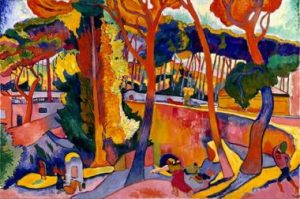 A colorful painting with lot of trees, each one with a different vivid color, the dominant color is hot red