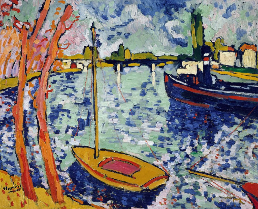 A painting of a boat on water, with bright spots of blue and orange