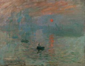 """Monet, """"Impression, Sunrise (Soleil Levant)"""", (1874)."""