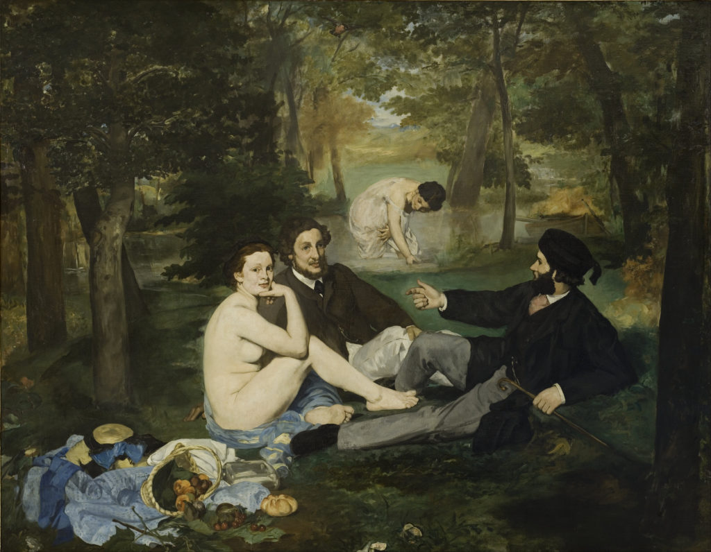 "One of the refused artworks at the Académie des Beaux-Arts annual Salon.  Édouard Manet ""The Luncheon on the Grass (Le déjeuner sur l'herbe)"" (1863)"