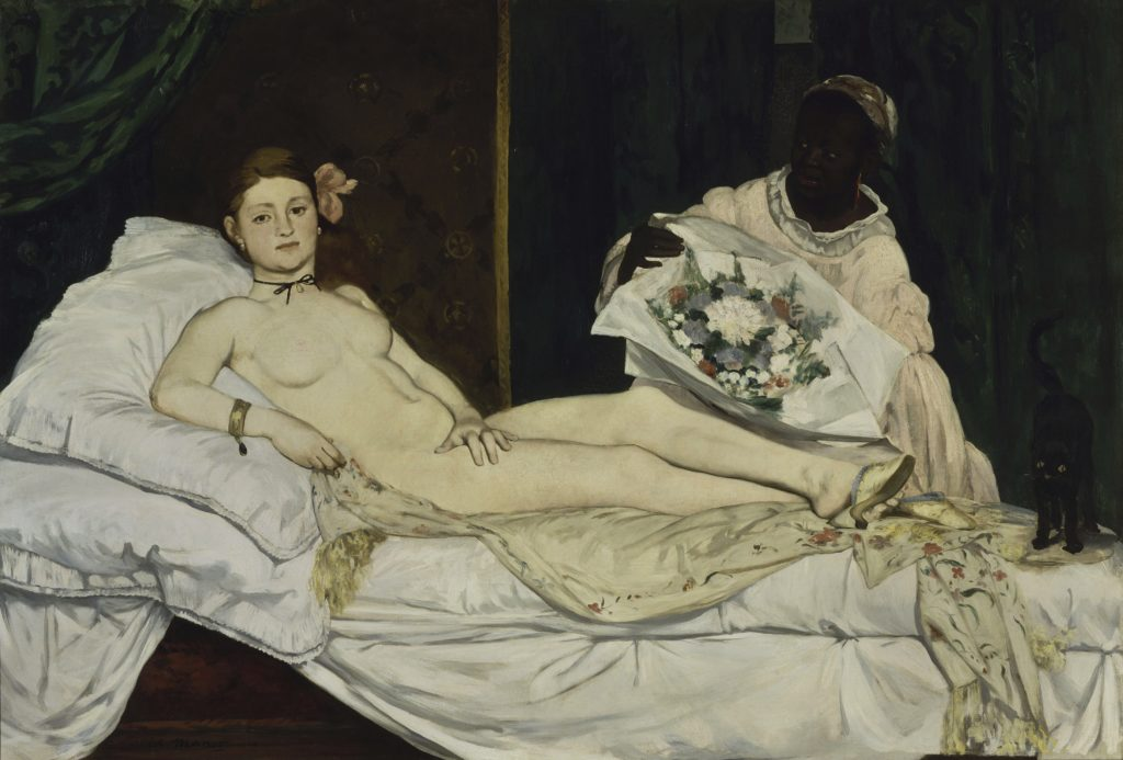 "Édouard Manet, ""Olympia"", (1863). This painting is inspired by Titian's ""The Venus of Urbino""."