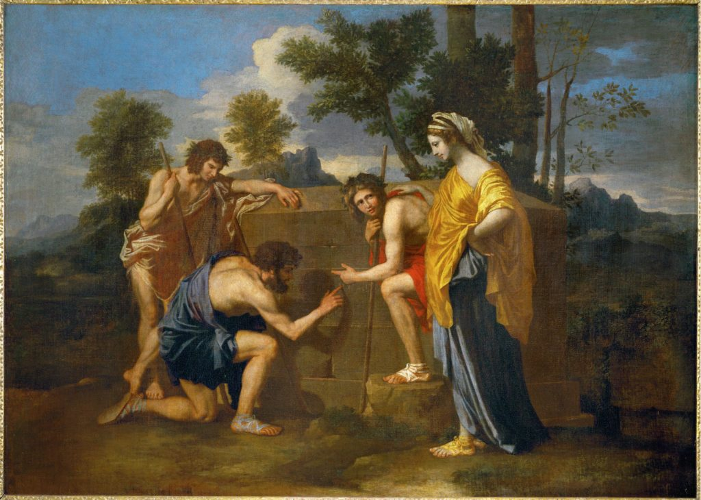 """Nicolas Poussin, """"Les Bergers d'Arcadie (Et in Arcadia ego)"""", (1637-1638). An example of classical standars."""