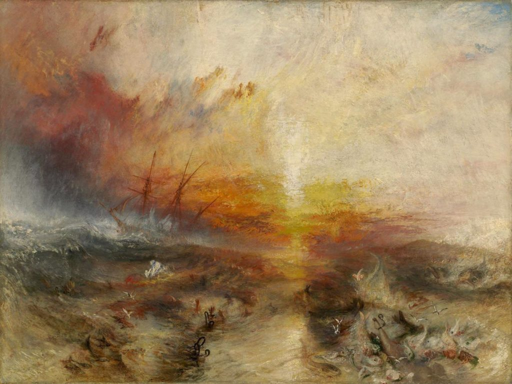 "J. M. W. Turner, ""Slavers Throwing overboard the Dead and Dying—Typhoon coming on"", 1840."