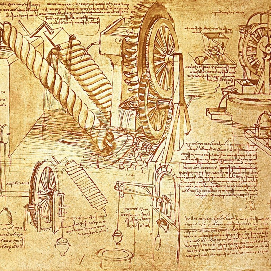 Drawings of Leonardo's inventions