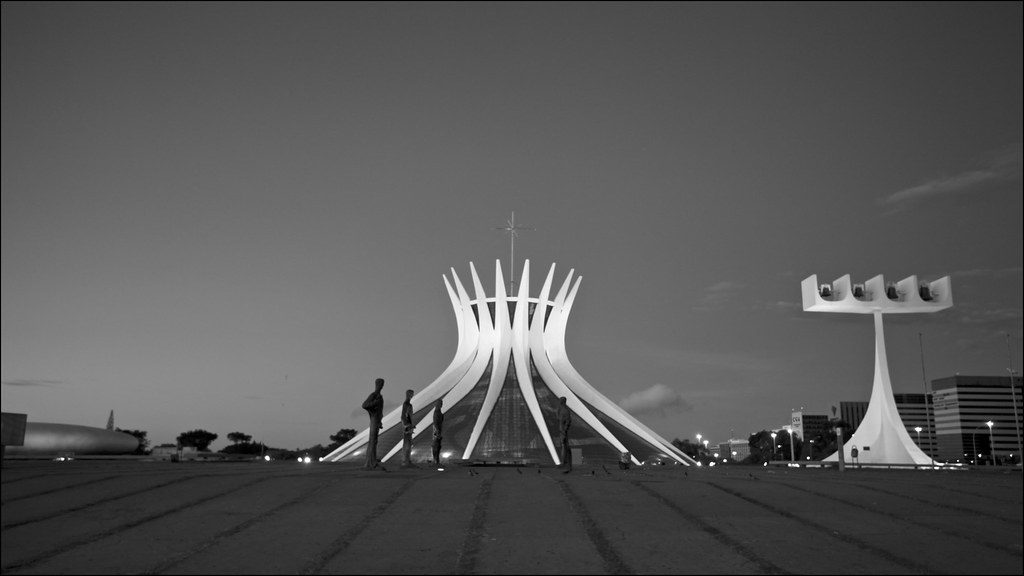 The Cathedral of Brasilia, with the four statues and the bell tower.