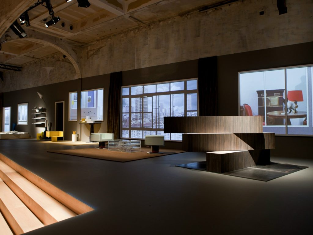 "The furniture collection ""Tools for Life"" at the Prada fashion show, 2013."