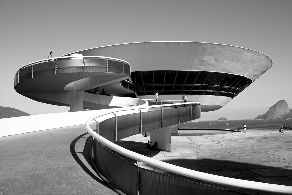 Niterói Contemporary Art Museum, with the typical inverted cone shape.