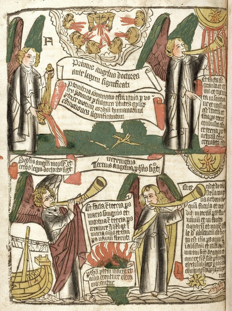 Page from the Apocalypse, block book dated back around the half of the 15th century.