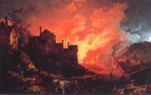 """Philip James De Loutherbourg, """"Coalbrookdale by Night"""", 1801."""