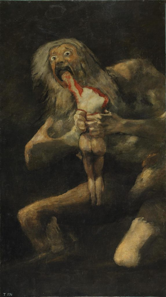 "Francisco Goya, ""Saturn Devouring His Son"", (1819-1823)."