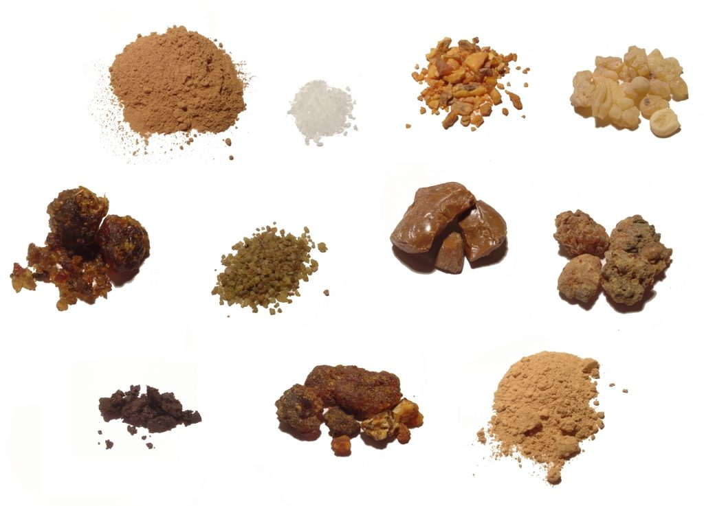 Some of the most common raw materials refined to create incense (makko powder, Sumatra benzoin, Omani frankincense, Tolu balsam, sandalwood powder, Somali myrrh etc.)