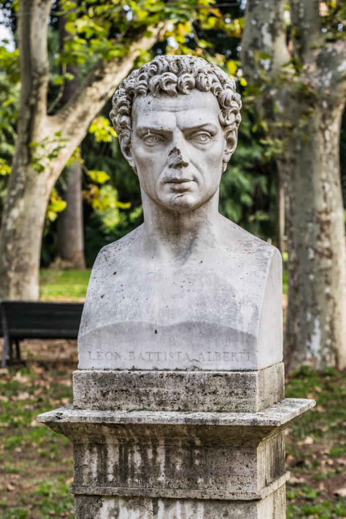 Bust of Leon Battista Alberti in the garden of Villa Borghese in Rome