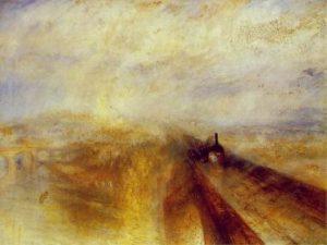 "J. W. M. Turner, ""Rain, Steam and Speed - The Great Western Railway"", (1844)."