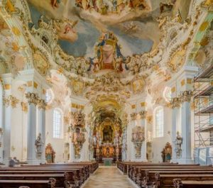 Wieskirche church in Bavaria, Germany. This building is a typical example of Baroque architecture.