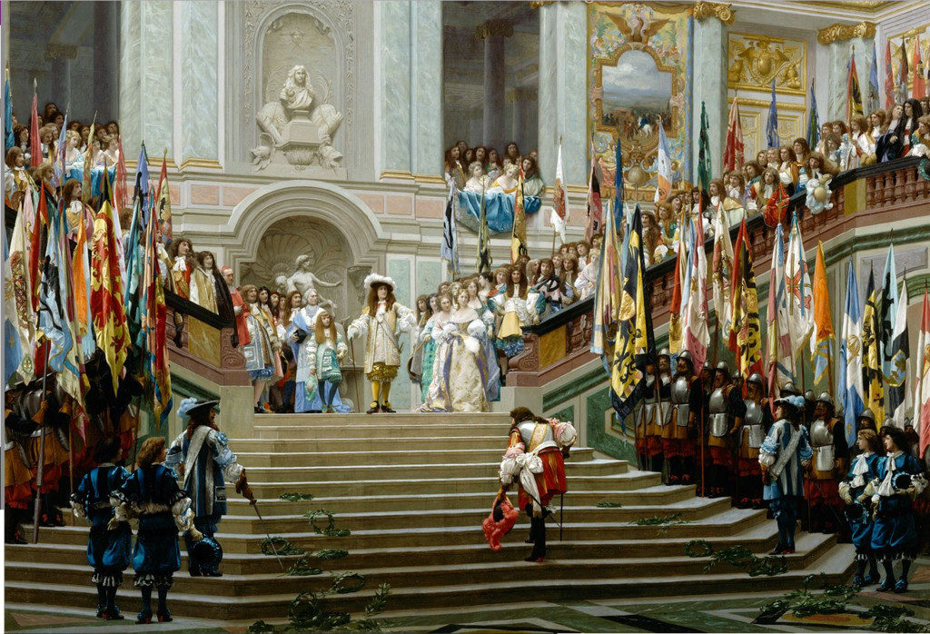 "Jean-Léon Gérôme ""Réception du Grand Condé"" , (1878). This painting represents the original Ambassador's Staircase."