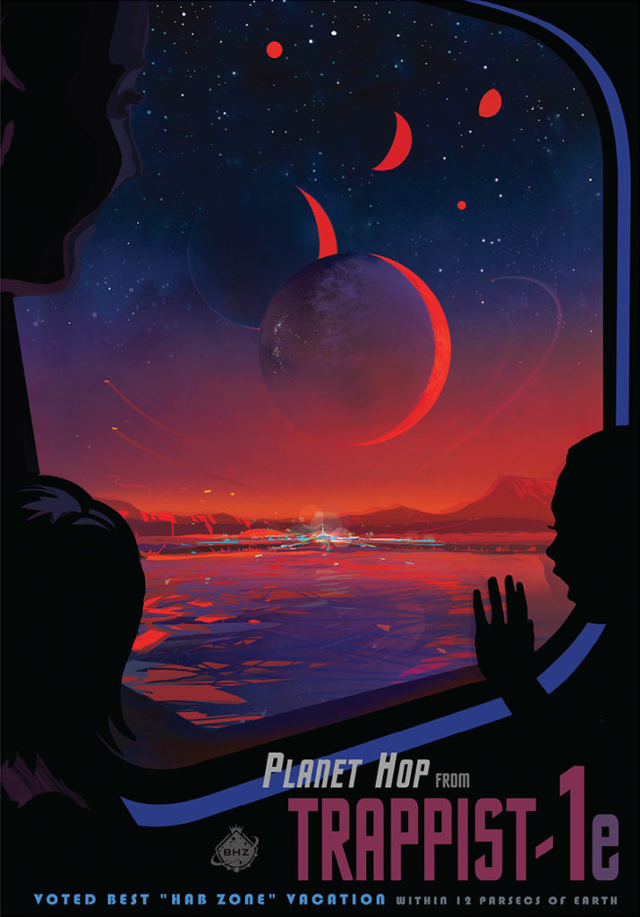 "Exoplanet travel bureau, ""take a trip outside our solar system"", from Nasa."