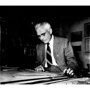 Pier Luigi Nervi at the drawing board.