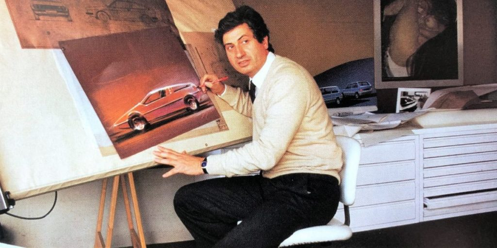 Giorgetto Giugiaro designing a concept of the Porsche Tapiro. It was the Wedge Era in car design.