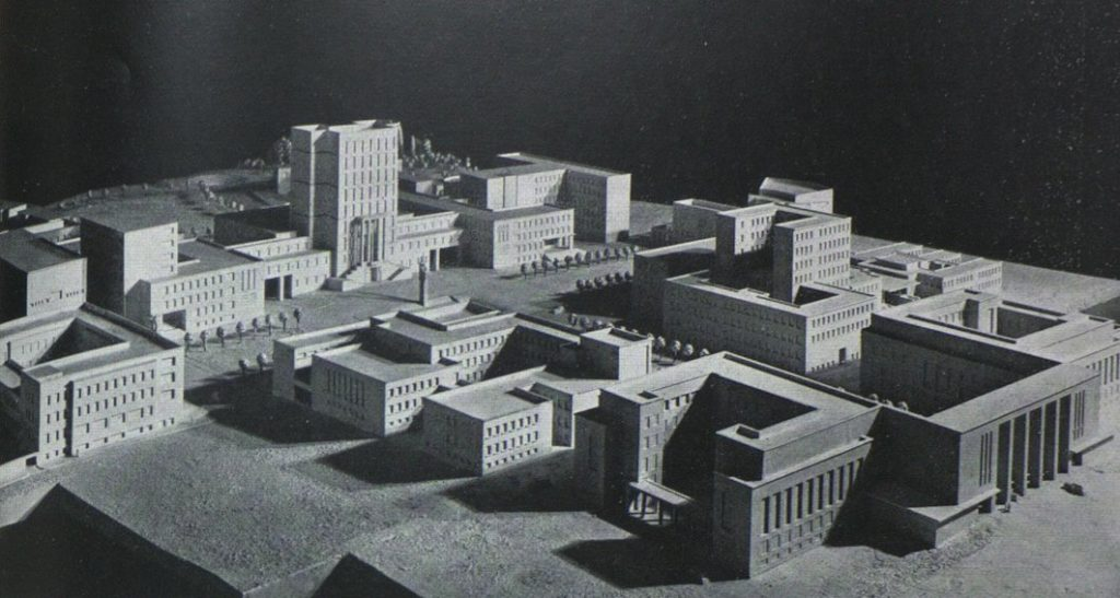 The original project of the university campus. The Rectorate was shortened during the construction.