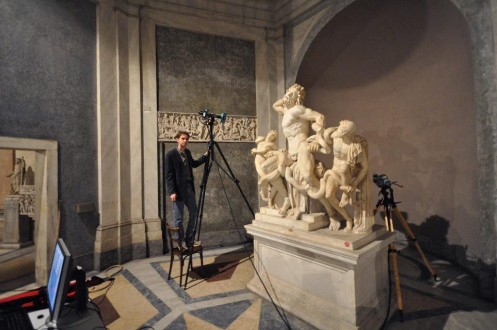 3D scanning of Laocoon statue at the Vatican Museum.
