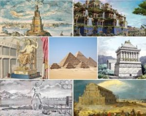 The Seven Wonders of the Ancient World. From left to right, top to bottom: 1) Lighthouse of Alexandria 2) Hanging Gardens of Babylon 3) Statue of Zeus at Olympia 4) Great Pyramif of Giza 5) Mausoleum at Halicarnassus 6) Colossus of Rhodes 7) Temple of Artemis at Ephesus.